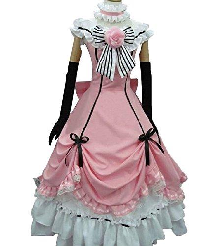 Vivian Japanese Anime Black Butler Shieru Cosplay Kostüm schönen Stil, pink Prinzessin Kleid Frau Lady Style Party Kleid Cosplay Kostüm (kann angepasst werden),Größe XL:(170-175 (Ciel Lady Kostüm)