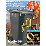 K7plus Mülltonnenaufkleber Mülleimer Aufkleber Mülltonne Sticker  Schmuck Folie für Fenster Wand und Türen (Motiv 06 - 3D Schlüssel)