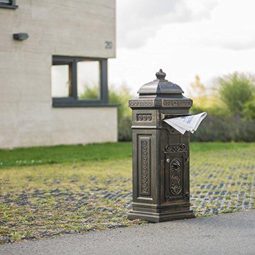 Relaxdays Standbriefkasten Antik HBT: 106 x 38 x 34 cm nostalgischer Säulenbriefkasten aus rostfreiem Aluminium englischer Briefkasten Postkasten in britischem Design mit Posthorn, bronze - 2