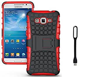 Micomy Kick Stand Shock Proof Case for Samsung Galaxy Grand Prime Red With Free Mini USB LED Light Lamp (Multi Colour)