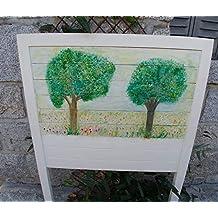 Cabecero cama de 90, pintado a mano, paisaje con árboles