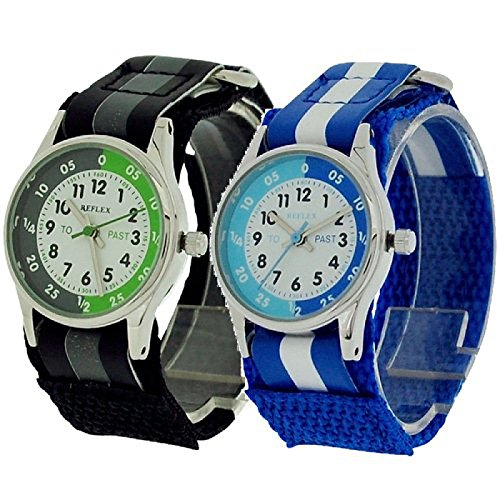 2-X-Reflex-Time-Teacher-Blue-Black-Easy-Fasten-Boys-Kids-Childrens-Watch-Gift