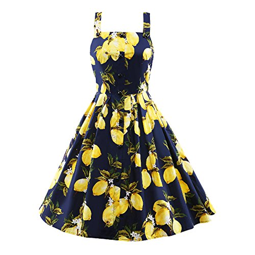 LUOUSE Damen 50 60s Weinlese-Cocktail Retro Schwingen Rockabilly Ballkleid-Kleid (Zitrone Print),Blue,L