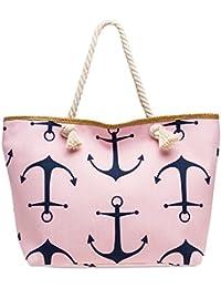 CASPAR TS1039 Joli sac de plage ou de shopping XXL avec imprimé ancres pour femme