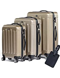 1d98a4c60 FERGÉ Luggage Set 3 Piece Hard Shell Trolley Lyon Suitcase Set 4 Twin Spinner  Wheels