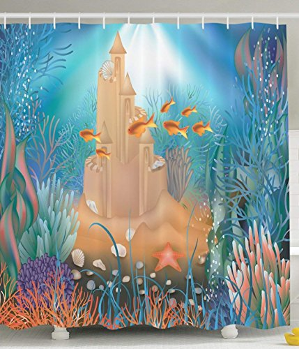 JIEKEIO Kids Shower Curtain Nursery Decor by, Fairy Sand Castle Underwater Dream World Sea Star Seashell Modern Art Tropical Fish Decorations for Bathroom Blue Aqua Turquoise Gold Khaki Purple Coral - Arrow Khaki