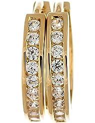 ISADY – Foly Gold – Boucles d'oreille – Créoles - Plaqué Or 750/000 (18 carats) – Oxyde de zirconium