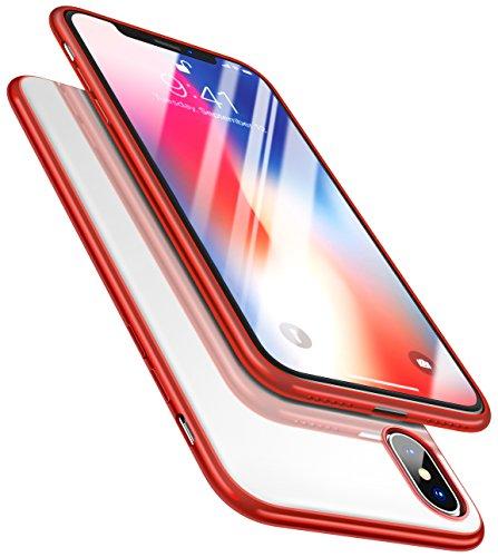 Moko iphone x case - cover premio morbido silicone flessibile paraurti tpu gomma trasparente retro custodia per apple iphone x / iphone 10 smartphone[supporta la funziona ricarca wireless], rosso