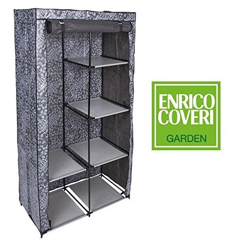 Lgv armadio salvaspazio guardaroba in tessuto tnt 89x46x169 cm colore grigio enrico coveri, struttura acciaio 4 mensole regolabili