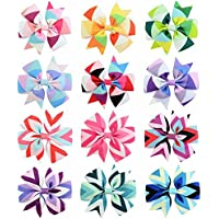 Dosige 12 Pcs Baby Girls Hair Bows Clips Hairpin Barrettes Rainbows Grosgrain Ribbon for Infant Toddlers