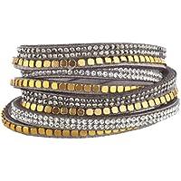 Lux accessori Grigio orlo di perline tono oro cristallo doppia fila bracciale a fascia, in pelle scamosciata - Tono Oro Charm Bracelet Bracciale