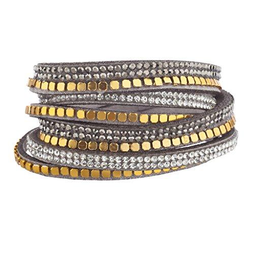 Lux accessori Grigio orlo di perline tono oro cristallo doppia fila bracciale a fascia, in pelle scamosciata