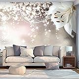 decomonkey | Fototapete Blumen Lilie Orchidee weiß Abstrakt 300x210 cm XL | Tapete | Wandbild | Wandbild | Bild | Fototapeten | Tapeten | Wandtapete | Wanddeko | Wandtapete | silber