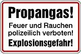 Schild Alu Propangas! Feuer und Rauchen polizeilich verboten! Explosionsgefahr! 200x300mm