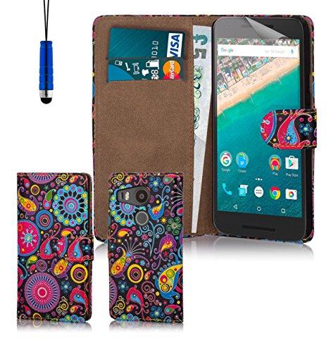 32nd® Design schutzhülle handytasche im Brieftaschenstil aus PU-Leder, für Google Nexus 5X (2015), inklusive displayschutzfolie und reinigungstuch - Jellyfish