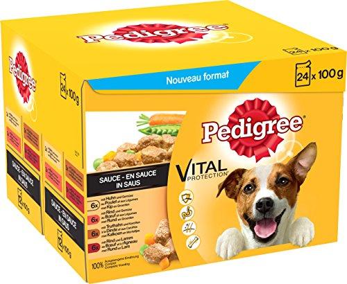 Pedigree Hundefutter Nassfutter Adult in Sauce, 48 Portionsbeutel (2 x 24 x 100g)