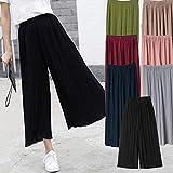 Comaie Pantalones de Gasa para Mujer, Cintura Alta, Falda de Pierna Ancha, Plisados, Sueltos, para Personas de 75 a 140 kg Negro Negro