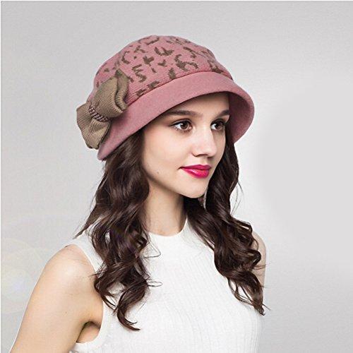 Maitose™ Laine Bucket Bow décoratif tricoter Chapeau de femmes Rose