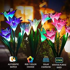 Luz solar Exterior Jardin PUZ Toy Luces Led Solares Para Exteriores hadas Guirnaldas Luces Exterior Pack 3 Con 7 Flores…