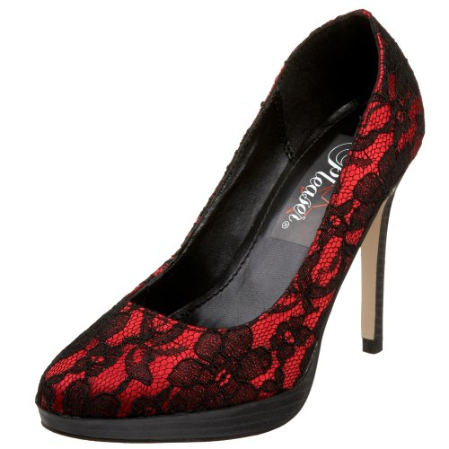 Pleaser Pumps Bliss-30-2 Rotes Satin mit Spitze Red Satin-Blk Lace