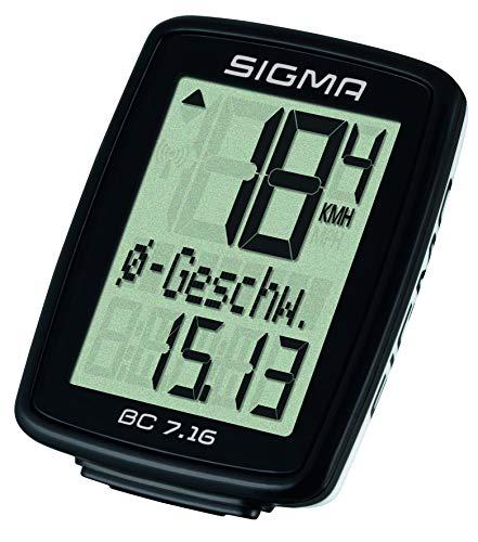Sigma Sport BC 7.16 Fahrradcomputer, Schwarz, One Size