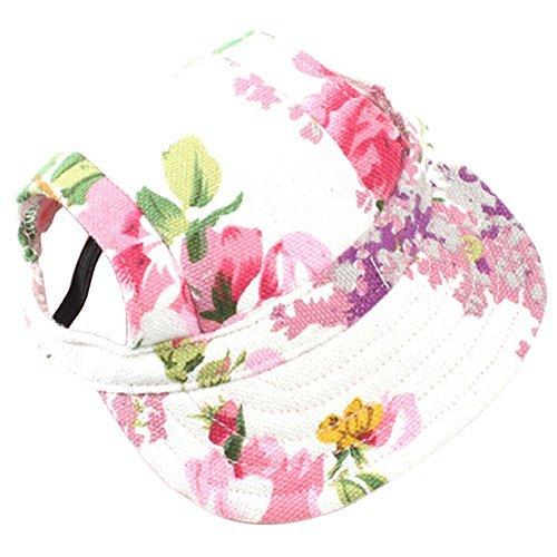 SZTARA mascota Gorra de sol con oído agujeros ajustable Gorra de béisbol lienzo con diseño de flores rosas para perros pequeños