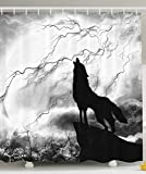 JIEKEIO Black Wolf Silhouette Howling Thunderstorm Full Moon Light Mystic Night Gray White and Black Monochrome Scary Scene Art Decorations Charcoal Bathroom Decor Polyester Fabric Shower Curtain