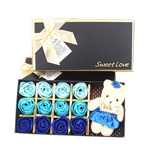 Kicode Scented Petal Bath 12pcs Rose Soap with Luxury Box 1 Set Wedding Soap Flowers Romantic 9 Color Love Gift (Set Bath Rose Scented)