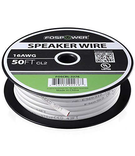 FosPower Cable de altavoz [15m][UL Listed] 16AWG Desnudo Cobre 2-Conductor CL2 En-pared Speaker Wire con Blanco Chaqueta y Nylon Ripper (50ft)
