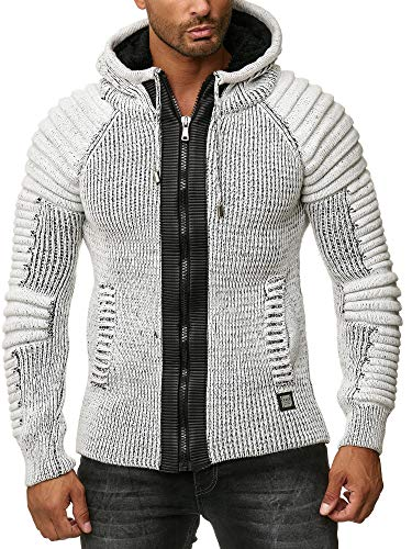 Herren Winter Strickjacke mit Reissverschluss Kapuze Taschen Fell (CC4004, L)