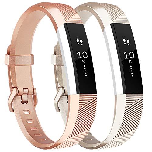 Tobfit Armband für Fitbit Alta HR Armband, Alta Armband Verstellbar Weich Ersatz Armbänder für Fitbit Alta HR und Fitbit Alta (Keine Uhr) (2-Pack Champagner Gold+Rose Gold, Kleine)