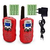 Fetoo Walkie Talkie für Kinder mit Akku, Standladeschale 0,5W 8 Kanäle VOX Taschenlampe Funkgeräte (Mit Akku und Ladekabel,Rot)
