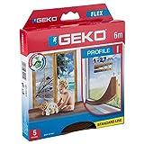 Geko 940009 Türdichtung/Fensterdichtung I-Profil-Selbstklebende zuschneidbare Dichtung für Türen und Fenster, L: 6 m, B x H: 9 x 3 mm, Langlebig- 5 Jahr, braun