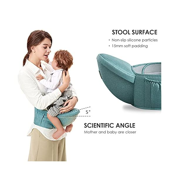 SONARIN 3 in 1 Breathable Hipseat Baby Carrier,Front Opening Design,Sun Protection,Multifunction,Adapted to Your Child's Growing, 100% Guarantee and Free DELIVERY,Ideal Gift(Green) SONARIN Applicable age and Weight:0-36 months of baby, the maximum load: 25KG, and adjustable the waist size can be up to 47.2 inches (about 120 cm). Material:designers carefully selected soft and delicate Cationic twill cloth. Resistant to wash, do not fade, ensure the comfort and wear resistance, Inner pad: EPP Foam,high strength,safe and no deformation,to the baby comfortable and safe experience. Description:patented design of the auxiliary spine micro-C structure and leg opening design, natural M-type sitting.Widened shoulder strap, Widened seat surface, thickened cushion, let the baby and mother enjoy the joy. H-type bridge belt, effectively fixed shoulder strap position, to prevent shoulder straps fall, large buckle, intimate design, make your baby more secure. 6