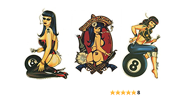 Rockabilly stickers Vintage Pin Up Girl Hot Rod Décalque Voiture Vélo #a00106