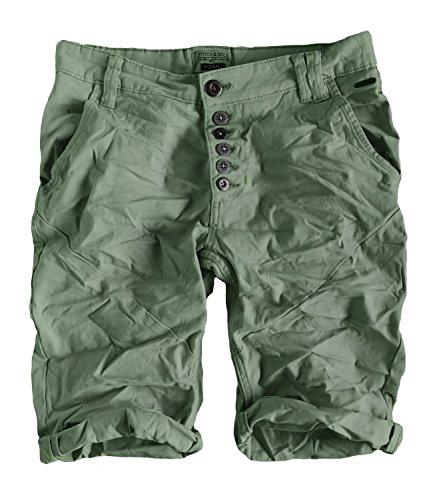 Eight2Nine Damen Bermuda Short Boyfriend tiefer Schritt Turn Up mit Quernaht by Surface washed (M, middle green)