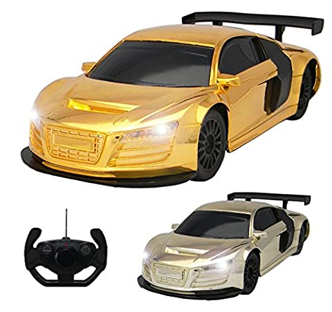 Audi R8 Style RC Remote Radio Controlled Toy Car with Lights - PL9136 Electric Radio Controlled Audi R8 Style RC Car –1:18 Model – Ready to Run, EP (Gold Chrome)