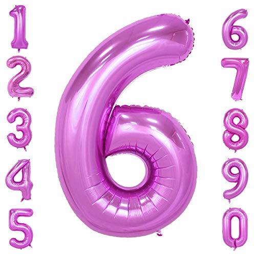 CHANGZHONG 40-Zoll 0-9 in Rosa Nummer Foil Ballons Helium Zahlenballon Luftballon Riesenzahl Party Hochzeit Kindergeburtstag Geburtstag Nummer 6 (Rosa Ballon 6)
