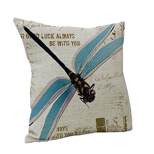 Nunubee Nette Gedruckt Dragonfly Leinenbaumwoll Dekorative Kissen Kissen Abdeckungs Fall Blau (Dekorative Kissen-abdeckungen Blau)
