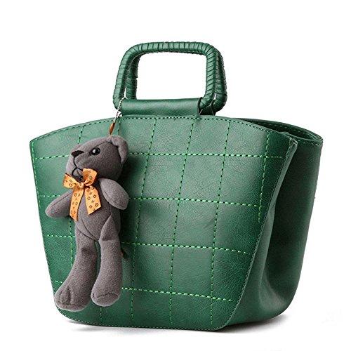Koson uomo donna, in stile Vintage, con tracolla per piccola borsa a tracolla, maniglia superiore, verde (Verde) - KMUKHB277