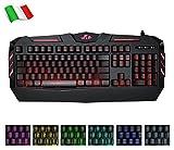 Rii Gaming RK900 (Layout Italiano) - Tastiera Italiana da Gioco retroilluminata a LED (7 Colori) con Tasti multimediali, paragonabile a Una Tastiera Meccanica