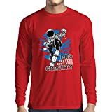 lepni.me T-Shirt Manches Longues Homme Pro Skaters Don't Need Gravity - Skateboard...