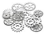 Amaraperlen Steampunk Zahnräder Metall Anhänger Steampunk für Schmuck Basteln Silbern (21.1.1)