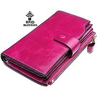 Yaluxe Donna grande capacità lusso cera vera pelle Portafoglio con tasca con zip(confezioni regalo)