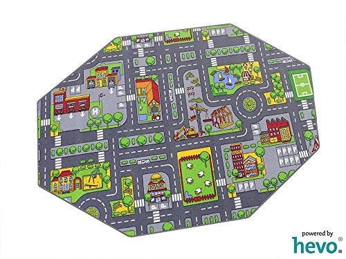 HEVO Stadt Mix Strassen Spielteppich | Kinderteppich 200 cm Achteck