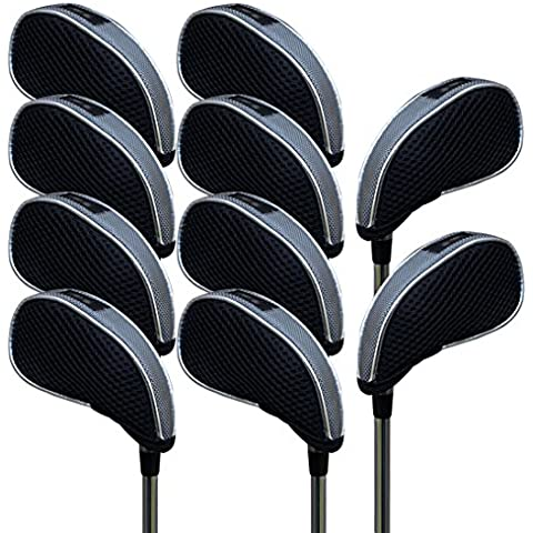 Andux malla funda de palo de golf hierros con ventana 10pcs/set 01-YBMT-001-01 Negro/gris