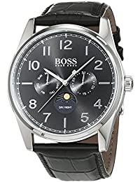 Hugo Boss Heritage Mens Quartz Black Chronograph Black Leather Strap 1513467