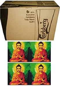 Buddha Theme Coaster With Carlsberg Club Glasses for Beer Mug - Limited Edition