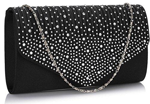 LeahWard® LeaWard Diamante Embrayage Portefeuilles Cristal Sparkly Beaded Sacs À Main Bal De Promo Mariée Sac 299 Noir Sac Main