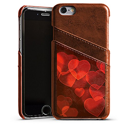 Apple iPhone 5 Housse étui coque protection C½ur affaibli Motif Motif Étui en cuir marron